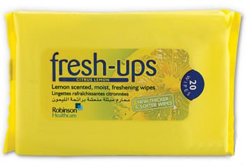 Fresh Ups Moist Tissues Citrus Lemon Pack of 20