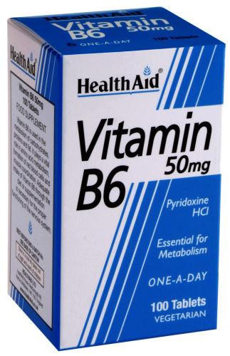 HealthAid Vitamin B6 50mg Tablets Pack of 100