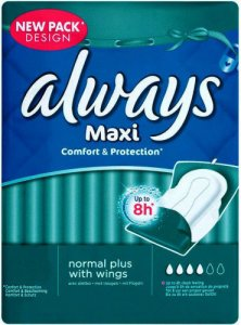 Always Maxi Normal Plus Sanitary Towels With Wings Pack of 16