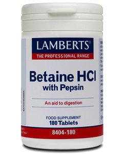 Lamberts Betaine HCL 324mg/Pepsin 5mg Tablets Pack of 180