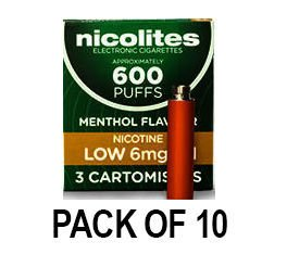 Nicolites Refills Low Strength Menthol Flavour Pack of 3 (10 Packs)