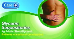 Care Glycerin Suppositories Adult Pack of 12