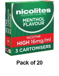 Nicolites Refills High Strength Menthol Flavour Pack of 3 (20 Packs)