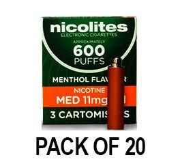 Nicolites Refills Medium Strength Menthol Flavour Pack of 3 (20 Packs)