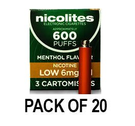 Nicolites Refills Low Strength Menthol Flavour Pack of 3 (20 Packs)