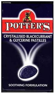 Potters Pastilles Blackcurrant & Glycerine Crystallised 45g