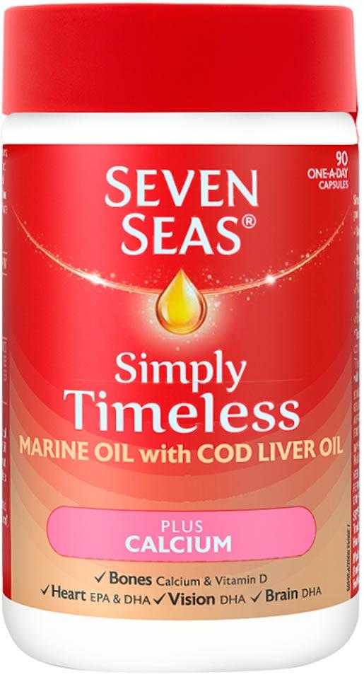 Seven Seas Simply Timeless Marine Oil with CLO plus Calcium Pack of 90