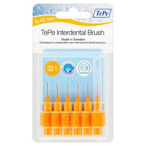 Tepe Interdental Brushes Orange 0.45mm Pack of 6
