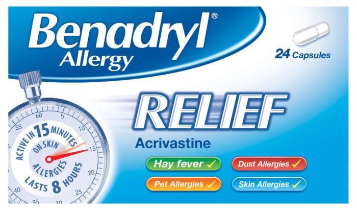Benadryl Allergy Relief 8mg Capsules Pack of 24