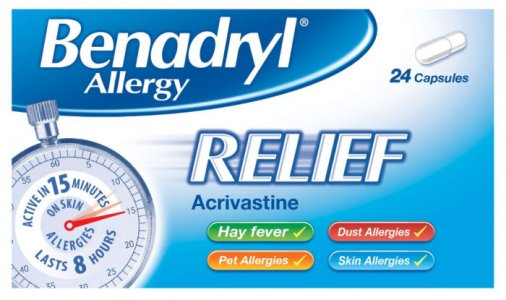Benadryl Allergy Relief 8mg Capsules Pack of 24