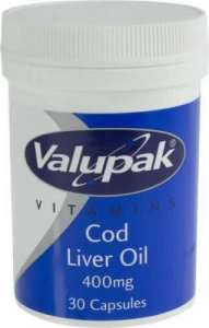 Valupak Cod Liver Oil Capsules 400mg Pack of 30
