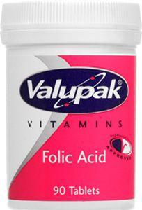 Valupak Folic Acid Tablets 400mcg Pack of 90