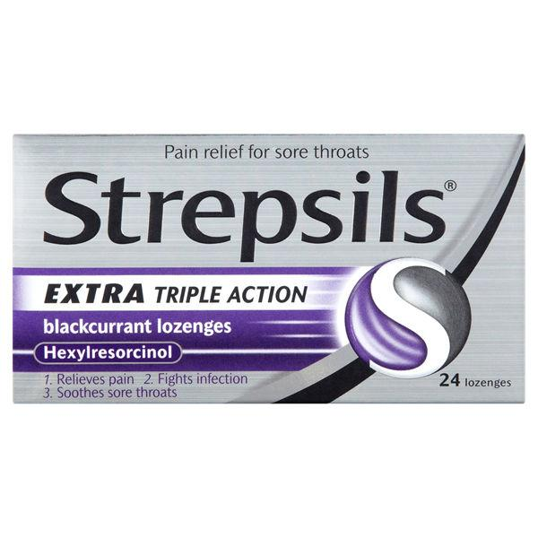 Strepsils Lozenges Extra Strength Blackcurrant Pack of 24