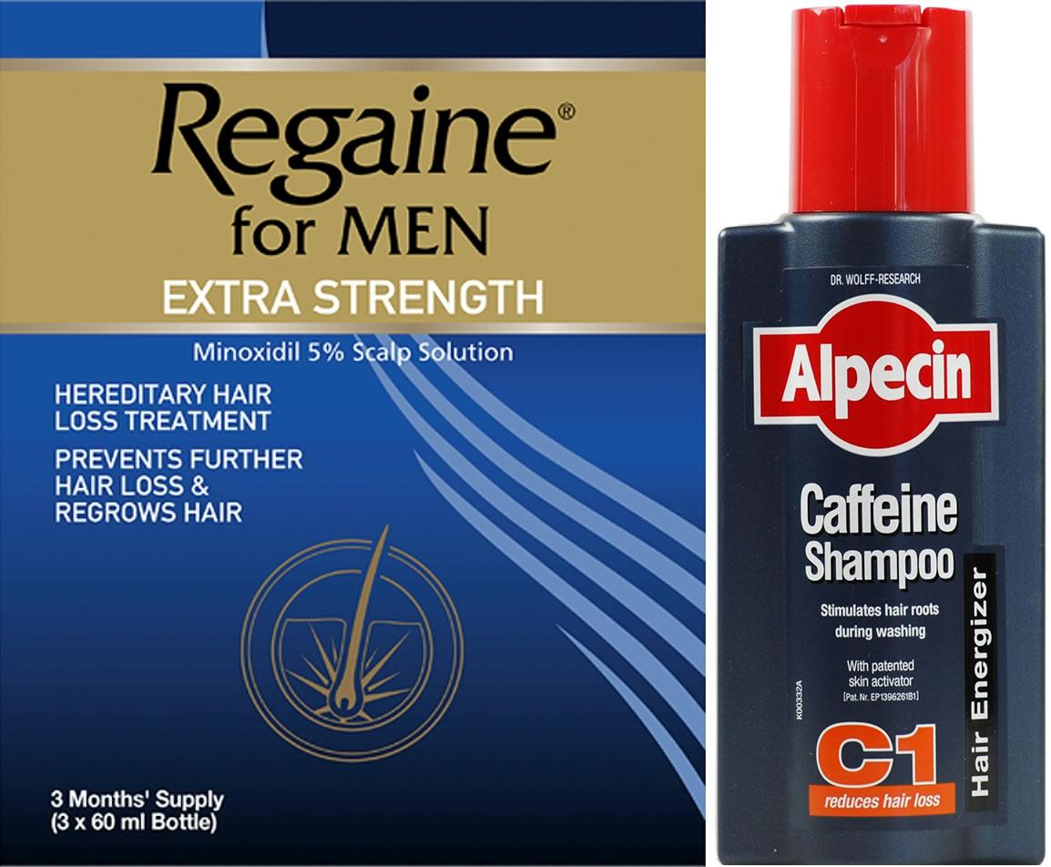 Regaine Men 60ml Lotion Triple Pk & Alpecin Caffeine Shampoo C1 250ml