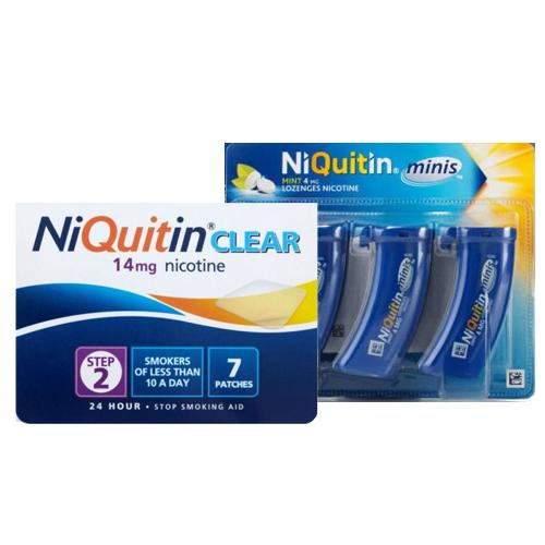 Niquitin Clear Patch Step 2 + Niquitin Minis Pack of 60