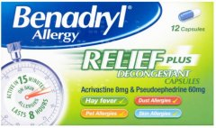 Benadryl Allergy Relief Plus Decongestant Capsules Pack of 12