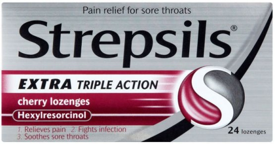 Strepsils Lozenges Extra Triple Action Cherry Pack of 24