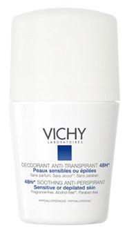 Vichy Deodorant 48hr Soothing Roll on for Sensitive or Depilated Skin