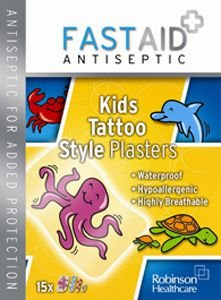 Fastaid Plasters Kids Tattoo Pack of 15