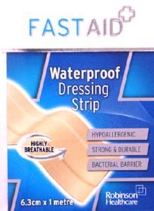 Fastaid Plasters Waterproof Strip 6.3cm x 1m