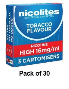 Nicolites Refills High Strength Tobacco Flavour Pack of 3 (30 Packs)