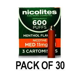 Nicolites Refills Medium Strength Menthol Flavour Pack of 3 (30 Packs)