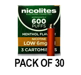Nicolites Refills Low Strength Menthol Flavour Pack of 3 (30 Packs)