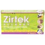 Zirtek Allergy Tablets Pack of 21