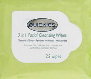 Quickies 3-in-1 Facial Wipes Pack of 25