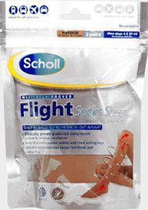 Scholl Flight Socks Sheer Natural size 4-6 Pack of 2