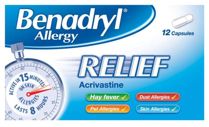 Benadryl Allergy Relief 8mg Capsules Pack of 12