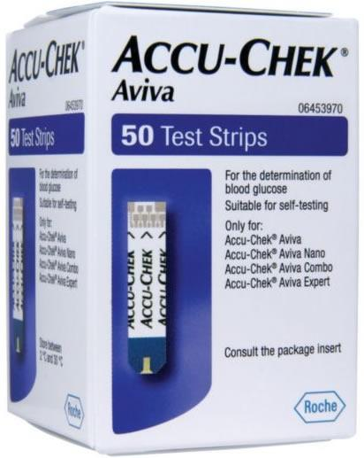 Accu Chek Aviva Glucose Test Strips Pack of 50
