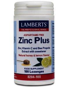 Lamberts Zinc Plus Lozenges Natural Honey & Lemon Flavour Pack of 100