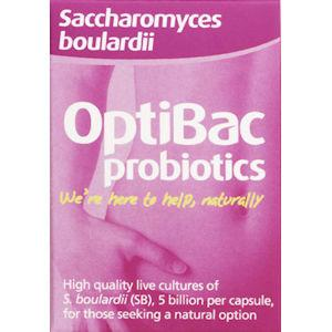 OptiBac Probiotics Saccharomyces Boulardii Capsules Pack of 16