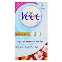 Veet Ready-to-use Underarm & Bikini Wax Strips Pack of 16