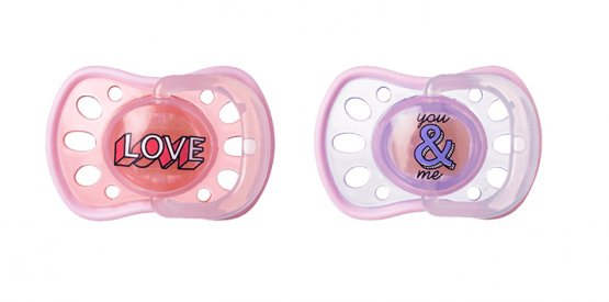 Tommee Tippee Soft Rim Soothers- Latex 6-18m Pink/Purple Pack of 2