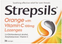Strepsils Lozenges Orange & Vitamin C Pack of 36