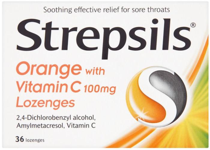 Strepsils Lozenges Orange & Vitamin C Pack of 36