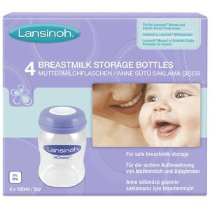 Lansinoh Breast Milk Storage Bottles 160ml Pack of 4