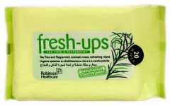 Fresh Ups Moist Tissues Tea Tree & Peppermint Pack of 20