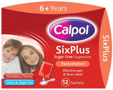 Calpol Six Plus Sugar-Free Strawberry Flavour Sachets 5ml Pack of 12
