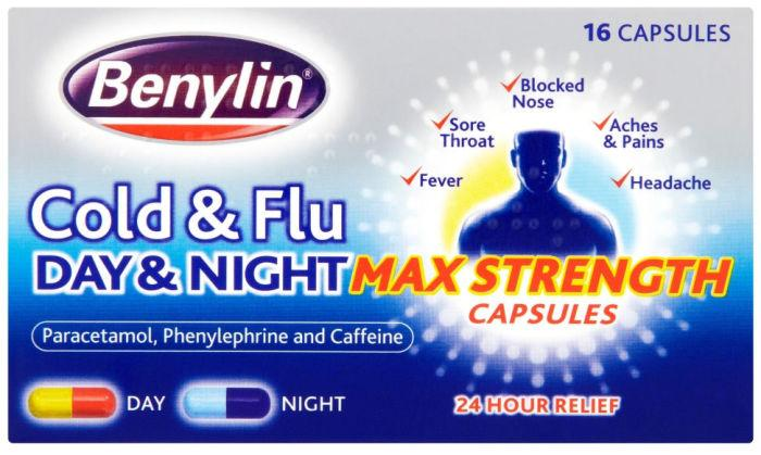 Benylin Cold & Flu Day & Night Max Strength Capsules Pack of 16