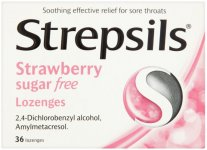 Strepsils Lozenges Strawberry Sugar Free Pack of 36