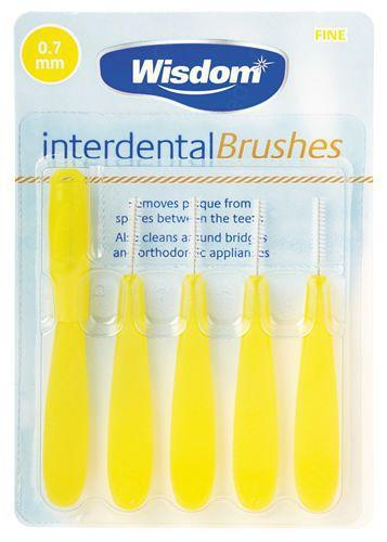 Wisdom Interdental Brushes 0.7mm Yellow Pack of 5