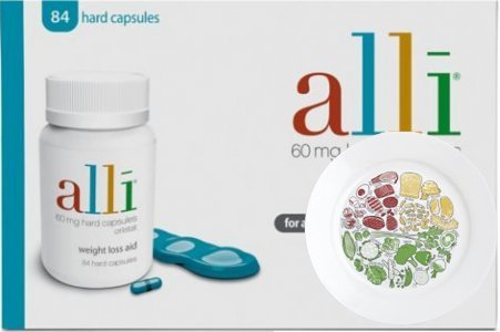 Alli Capsules 60mg (Pack of 84) & The Health Portion Plate