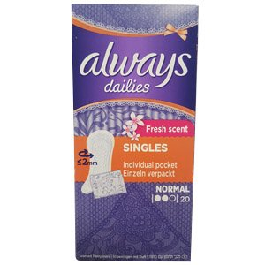 Always Dailies Liners Fresh Scent Wrapped Pack of 20