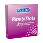 Pasante Ribs N Dots Condoms Pack of 3