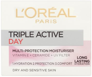 L'Oreal Triple Active Day Moisturiser for Dry and Sensitive Skin 50ml