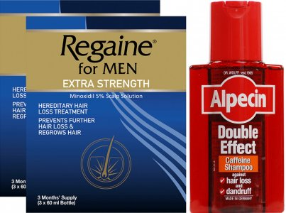 Regaine Men Lotion Triple Pk x 2 & Alpecin Shampoo Double Effect 200ml