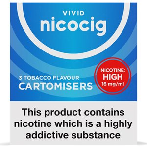 Nicocig Refills High Strength 16mg Tobacco Flavour Pack of 3